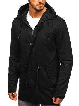 Мужская демисезонная куртка парка черная Bolf 5391