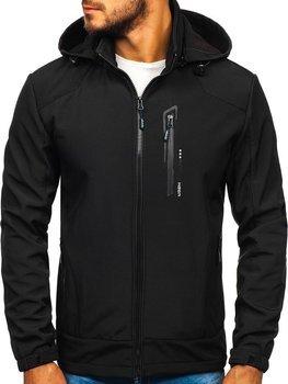 Мужская демисезонная куртка софтшелл черная Bolf KM82626