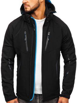 Мужская демисезонная куртка софтшелл черно-синяя Bolf 5612