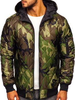 Мужская демисезонная спортивная куртка камуфляж-зеленая Bolf MY21M
