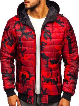 Мужская демисезонная спортивная куртка камуфляж-красная Bolf MY13M-A