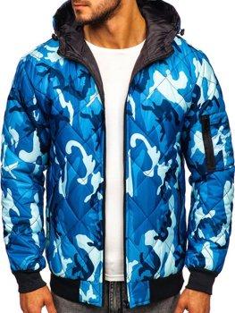 Мужская демисезонная спортивная куртка камуфляж-синяя Bolf MY21M