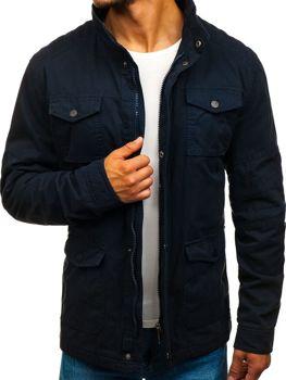 Мужская демисезонная элегантная куртка темно-синяя Bolf 1817