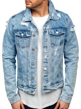 Мужская джинсовая куртка синяя Bolf AK580