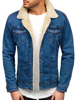 Мужская джинсовая куртка темно-синяя Bolf 1901