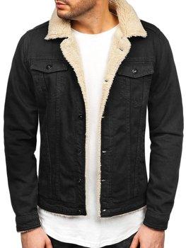 Мужская джинсовая куртка черно-белая Bolf 1901