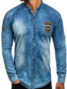 Мужская джинсовая рубашка с длинным рукавом синяя Bolf 0992