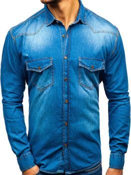 Мужская джинсовая рубашка с длинным рукавом синяя Bolf 1331