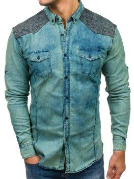 Мужская джинсовая рубашка с длинным рукавом с узором темно-сине-серая Bolf 0517-1