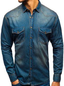 Мужская джинсовая рубашка с длинным рукавом темно-сине-серая Bolf 1331