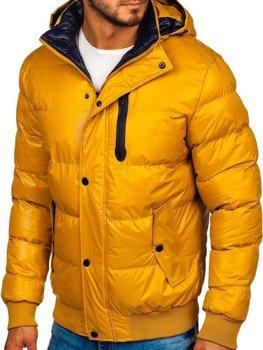 Мужская зимняя куртка желтая Bolf 5839