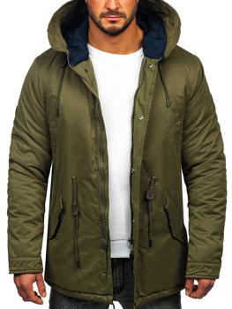 Мужская зимняя куртка парка зеленая Bolf 1793