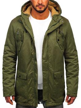 Мужская зимняя куртка парка зеленая Bolf 1794