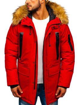 Мужская зимняя куртка парка красная Bolf 1093
