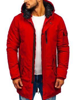 Мужская зимняя куртка парка красная Bolf 5841