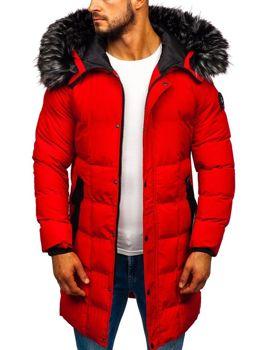 Мужская зимняя куртка парка красная Bolf 5857
