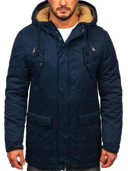 Мужская зимняя куртка парка темно-синяя Bolf 1794