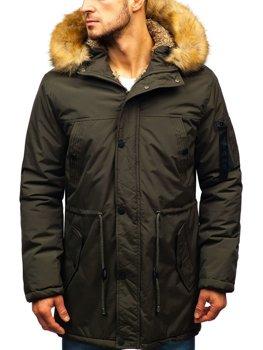Мужская зимняя куртка парка хаки Bolf R103