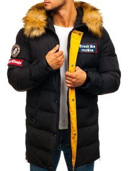 Мужская зимняя куртка парка черная Bolf 5315
