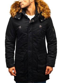 Мужская зимняя куртка парка черная Bolf R107