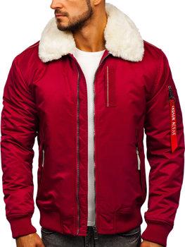 Мужская зимняя куртка пилот бордовая Bolf 1787