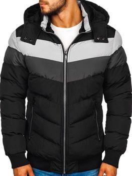 Мужская зимняя куртка черная Bolf 5808