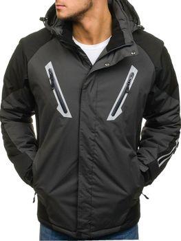 Мужская зимняя лыжная куртка графитовая Bolf F809