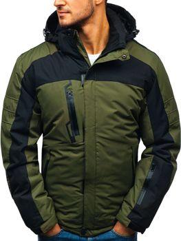 Мужская зимняя лыжная куртка зеленая Bolf HZ8112