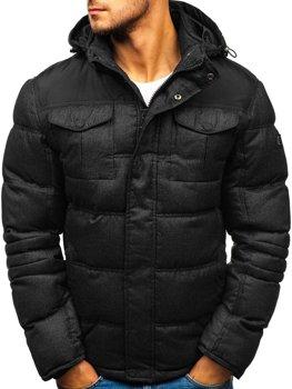 Мужская зимняя спортивная куртка черная Bolf AB104