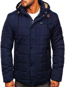 Мужская зимняя темно-синяя куртка Bolf 1672