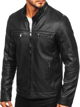 Мужская кожаная куртка байкер черная Bolf 88906