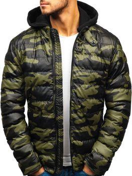 Мужская кожаная куртка зеленая Bolf 4695