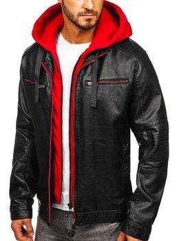 Мужская кожаная куртка с капюшоном черно-красная Bolf 6129