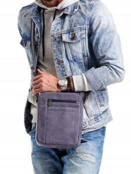 Мужская кожаная сумка темно-синяя 2521