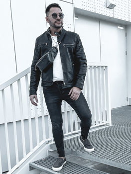Мужская кожаная утепленная куртка байкер черная Bolf 92530