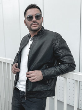 Мужская кожаная утепленная куртка черная Bolf 92531