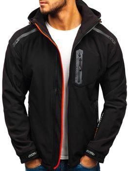 Мужская куртка софтшелл черно-оранжевая Bolf A5526
