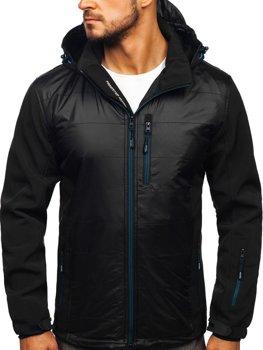 Мужская куртка софтшелл черно-синяя Bolf 5680