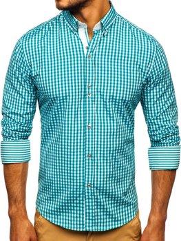 Мужская рубашка в клетку с длинным рукавом зеленая Bolf 9712