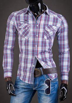 Мужская рубашка в клетку с длинным рукавом красная Bolf R010