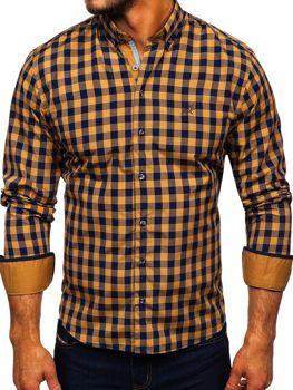 Мужская рубашка в клетку с длинным рукавом кэмел Bolf 4701