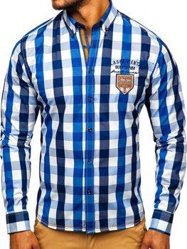 Мужская рубашка в клетку с длинным рукавом синяя Bolf 1766-1
