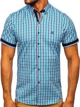 Мужская рубашка в клетку с коротким рукавом бирюзовая Bolf 4510