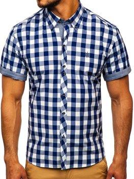 Мужская рубашка в клетку с коротким рукавом темно-синяя Bolf 6522