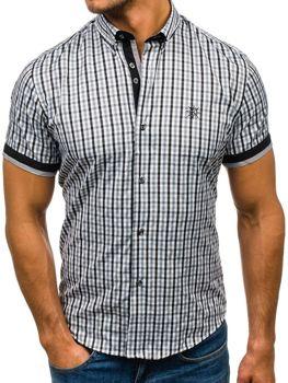 Мужская рубашка в клетку с коротким рукавом черная Bolf 4510