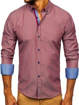 Мужская рубашка в полоску с длинным рукавом бордовая Bolf 9714