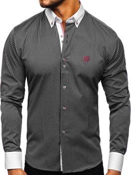 Мужская рубашка в полоску с длинным рукавом черная Bolf 9717