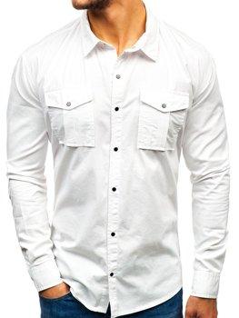 Мужская рубашка с длинным рукавом белая Bolf 2058-1