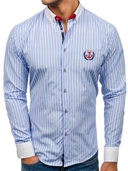 Мужская рубашка с длинным рукавом в полоску голубая Bolf 1771