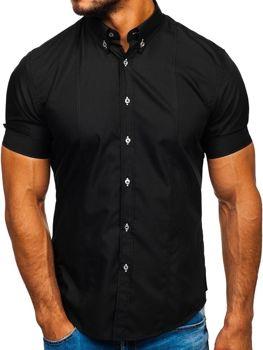 Мужская рубашка с коротким рукавом черная Bolf 5528